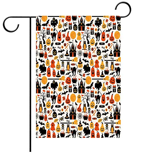 Philadelphia Halloween October 31 (Artistically Designed Yard Flags, Double Sided Halloween Halloween Icons Collection Candies Owls Castles Ghosts October 31 Theme Decorative Deck, patio, Porch, Balcony Backyard, Garden or)