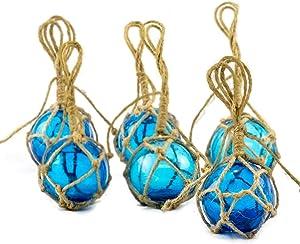 "Glass Fishing Floats | Aqua Japanese Glass Floats 2"" | Nautical Rope Ball | Set of 6 | Nautical Themed Wall Decor | Beach House Decor | Glass Buoys for Decoration and Ocean Room Decor"