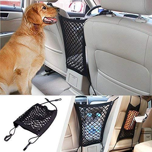 Car Dog Barrier Car Mesh Organizer, Universal Auto Seat Net Organizer Disturb Stopper from Children and Pets with Hooks