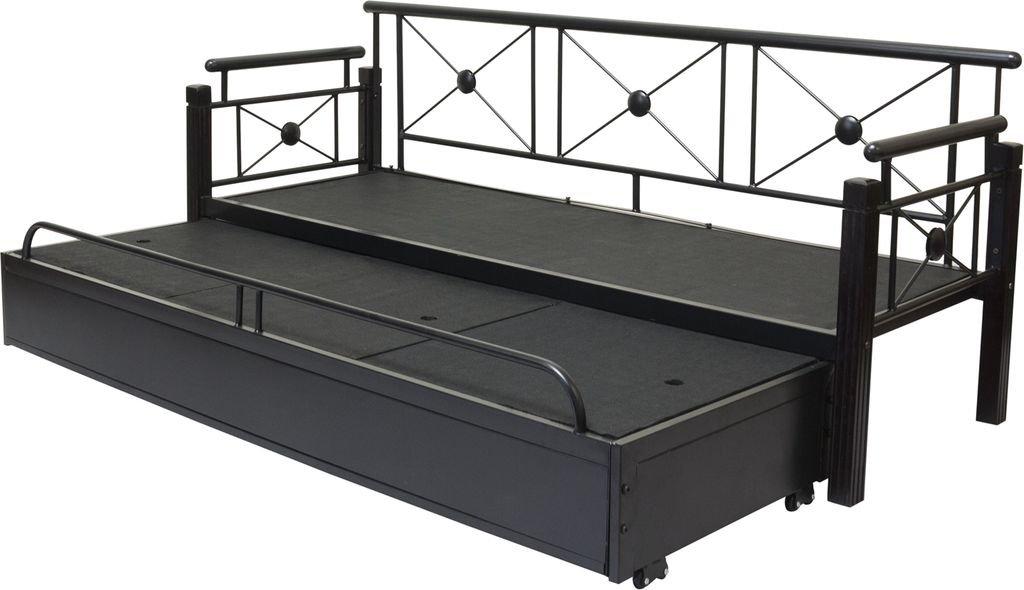 Furniturekraft Three Seater Sofa Bed Glossy Finish Black In Home Kitchen