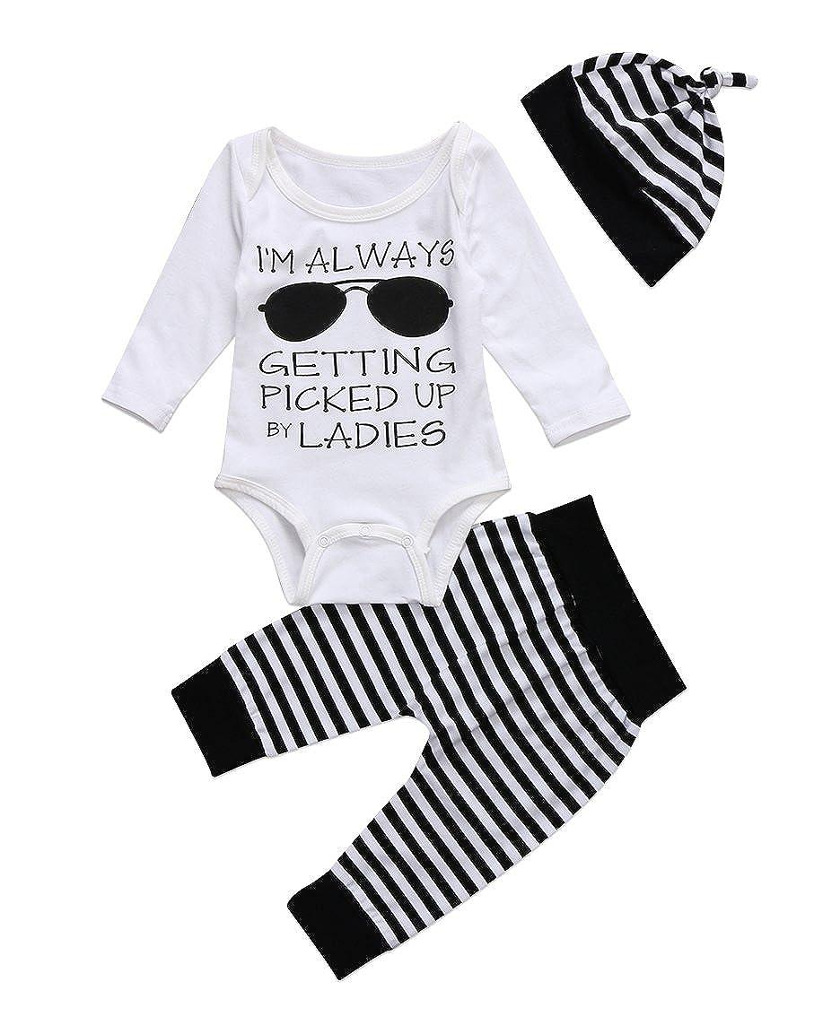 Newborn Baby Clothes Glasses Print Romper Bodysuit Tops Stripe Long Pants Hat Outfits