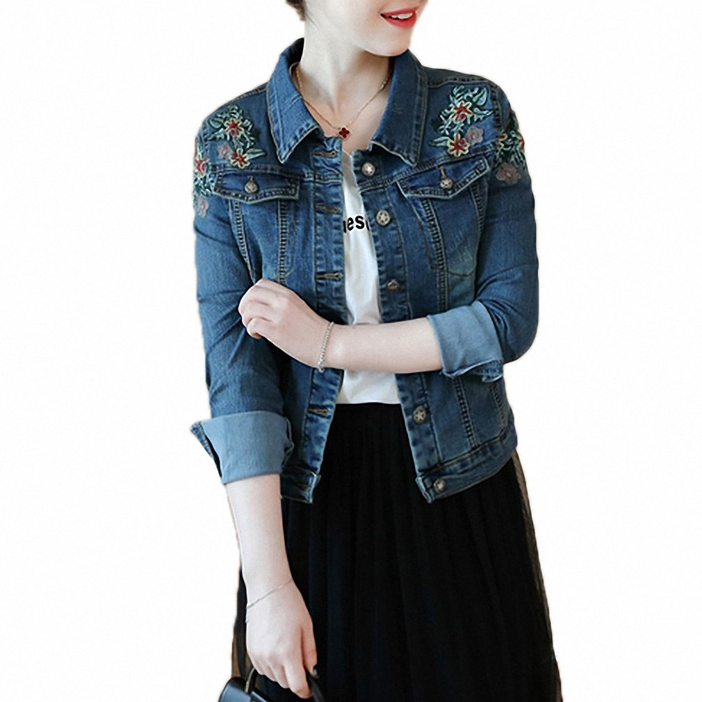 Womens Denim Jacket Vintage Embroidery Floral Plus Size Bomber Jackets Slim at Amazon Womens Coats Shop