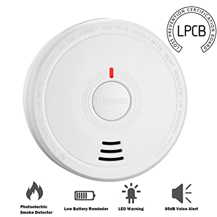 Isafenest Detector de Humo, Alarma de Humo que Batería funciona con Sensor Fotoeléctric, Alarma Luz/Voz, Recordatorio de Batería Baja, Botón de ...