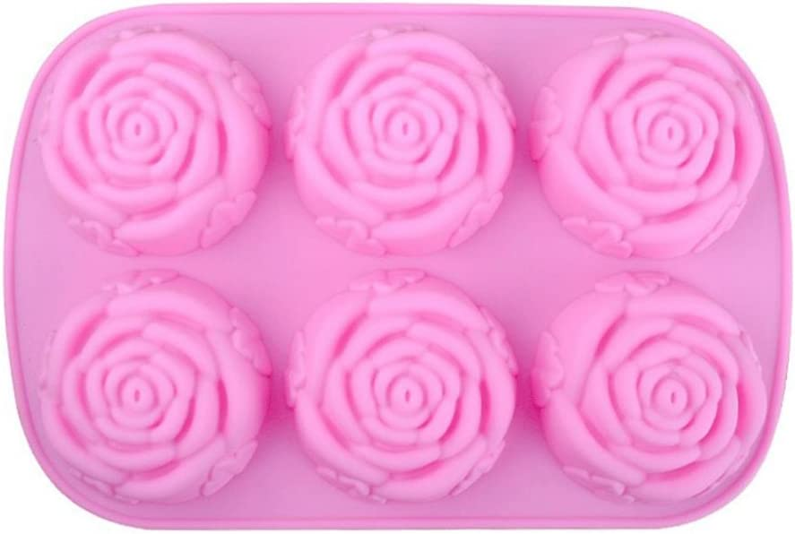 silicona 25*16.5*3CM Rose Flower gespout 6/Cavidad Cute Rosa Flor Forma Pastel Hielo Chocolate moldes de silicona rectangular moldes de jab/ón hecho a mano DIY moldes herramientas