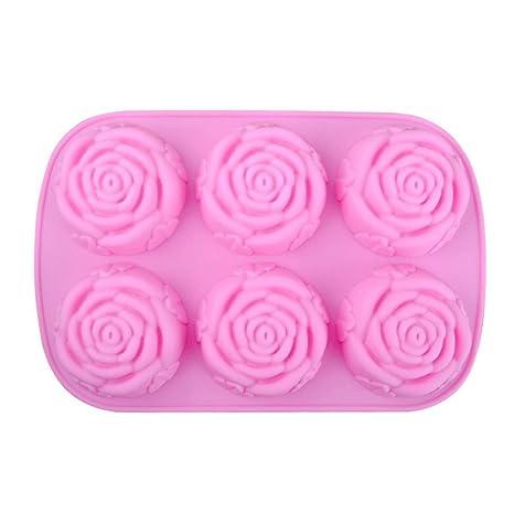 LeisialTM 6 con Forma Rose Molde de Silicona Suve para Pastel Jabones Hechos a Mano Candle Mold Cookie Budín Chocolate DIY: Amazon.es: Hogar