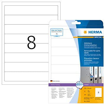 Herma Spine labels white A4 Movables 192x34 200 pcs