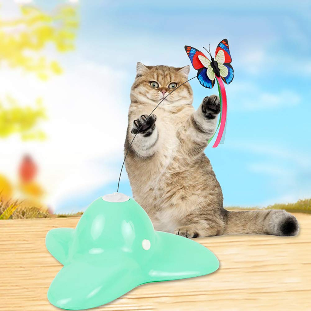 YuYe-xthriv Funny Ribbon Butterfly Rotating Electric Flutter Cat Teaser Kitten Play Pet Toy Green