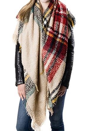 plaid blanket scarf tartan plaid scarfchristmas presentgift idea camel - Christmas Plaid Scarf