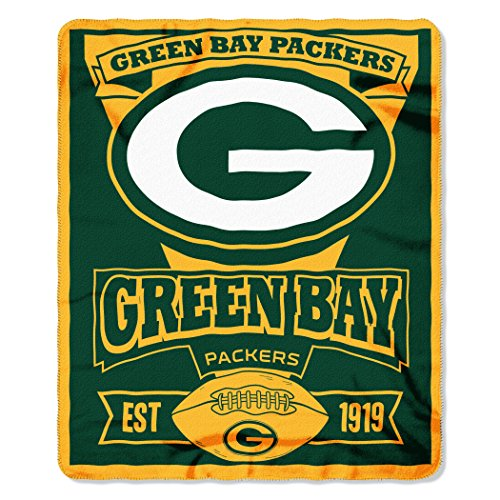 The Northwest Company 1Nfl 03102 0017 Amz Nfl Green Bay Packers Marque Printed Fleece Throw  50  X 60   Green Bay Packers  50 X 60