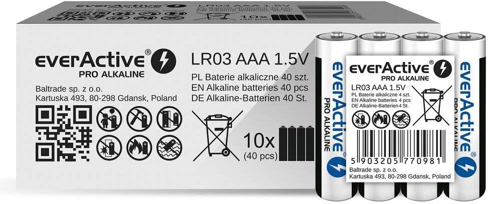 everActive - Pilas AAA (Pack de 40 Unidades, Pro alcalinas, Micro LR03 R03 1,5 V, Alta Potencia, 10 años de Durabilidad, 40 Unidades): Amazon.es: Electrónica