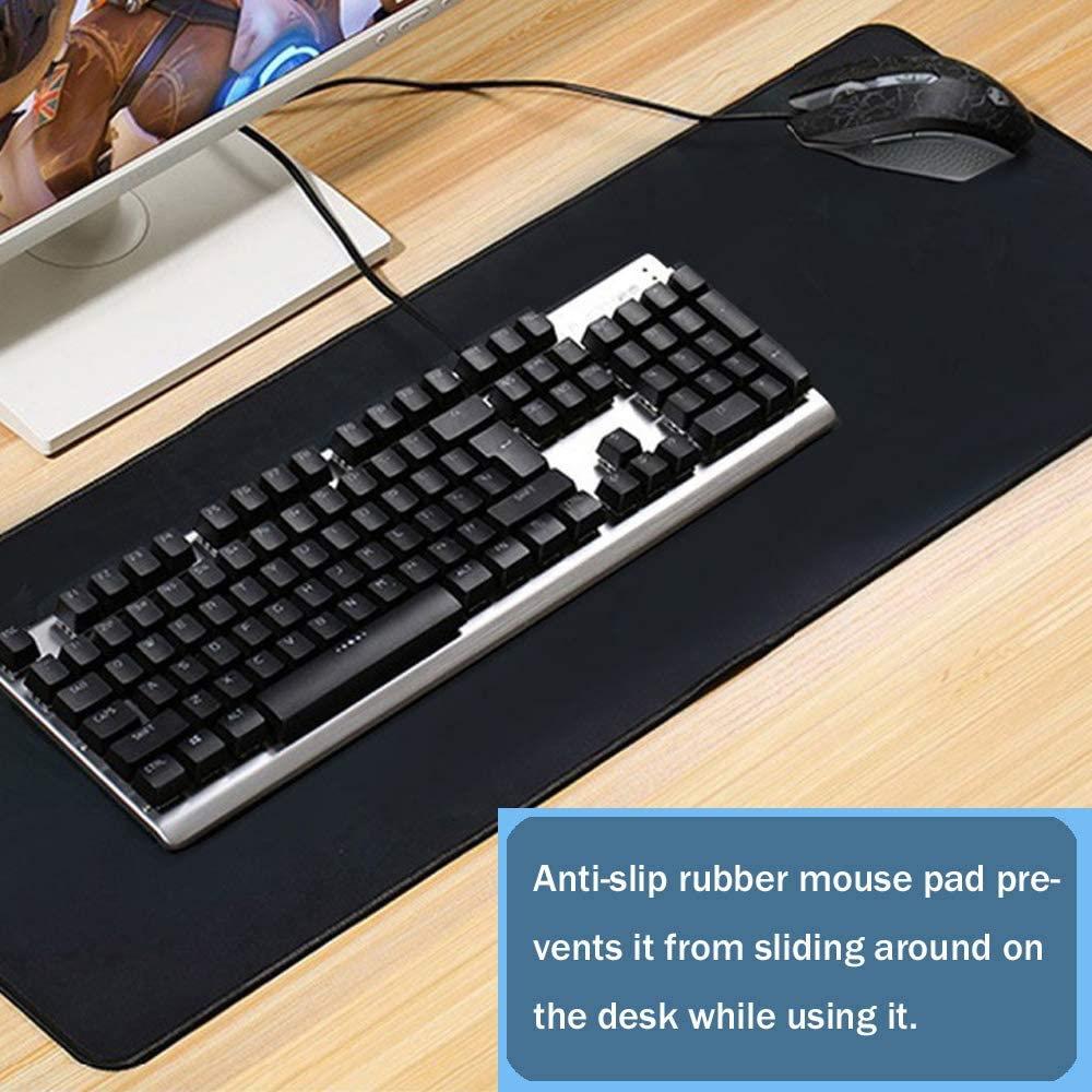 Extended Gaming Mouse Pad Non-Slip Large Computer Keyboard Mousepad Ultra Thick Soft Gaming Mouse Mat Wide Long Mouse Pat Durable Stitched Edges Waterproof for Both Gaming 30.7x11.8x0.12IN