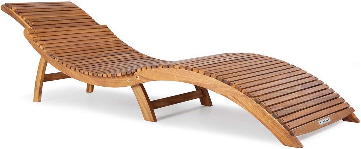Casaria Tumbona Plegable de Madera Certificado FSC de Acacia con apoyacabezas Ajustable y agarraderos 190 x 60 cm jardín Playa Exterior