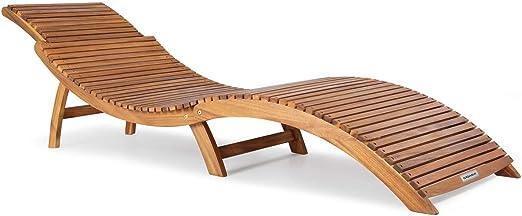 Casaria Tumbona Plegable de Madera Certificado FSC® de Acacia con apoyacabezas Ajustable y agarraderos 190 x 60 cm jardín Playa Exterior: Amazon.es: Jardín