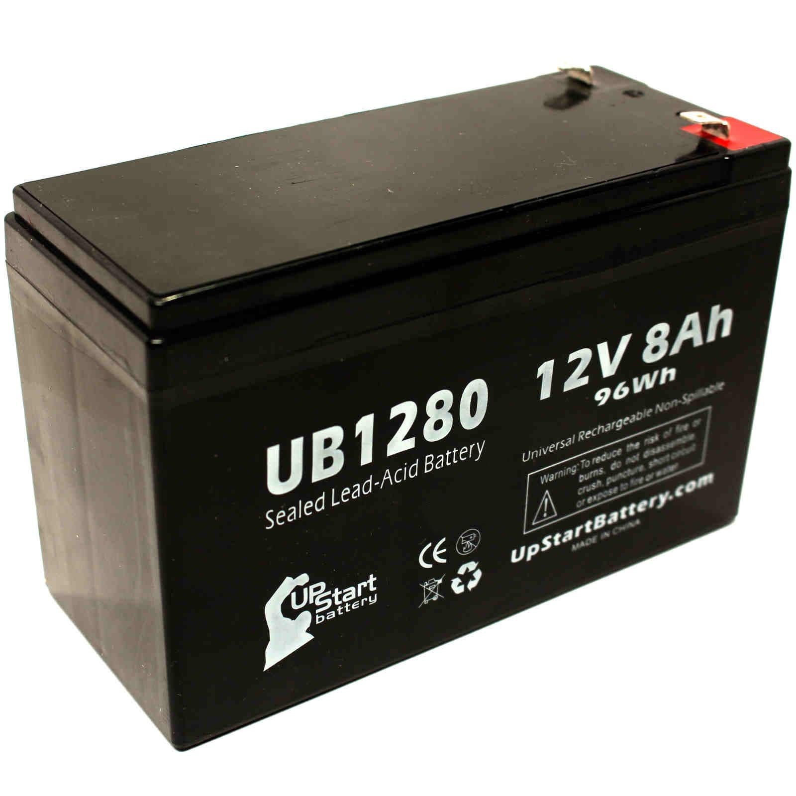 Light Alarms M10 Battery - Replacement UB1280 Universal Sealed Lead Acid Battery (12V, 8Ah, 8000mAh, F1 Terminal, AGM, SLA) - Includes TWO F1 to F2 Terminal Adapters
