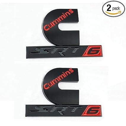 Amazon.com: Qukparts 2pcs Dodge Ram Cummins SRT6 for Turbo Diesel Emblem Badge Sticker SRT Ru Black Red: Automotive