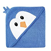 Luvable Friends Animal Face Hooded Towel, Blue Penguin
