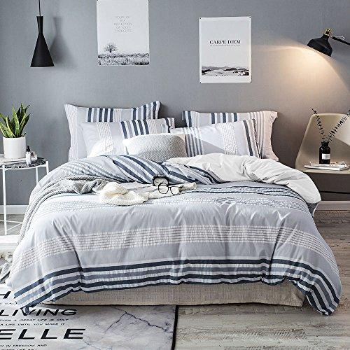 Merryfeel Cotton Duvet Cover Set,100% Cotton Woven Seersucker Stripe Duvet Cover and Pillowshams - King