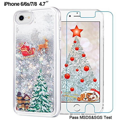iPhone 6/6s/7/8 Christmas Case, Maxdara [Screen Protector] Merry Christmas Tree Pattern Glitter Liquid Bling Sparkle Case Pretty Cute New Design for Girls Children Gifts for iPhone 6/6s/7/8 4.7 inch (Gift Christmas For Iphone)