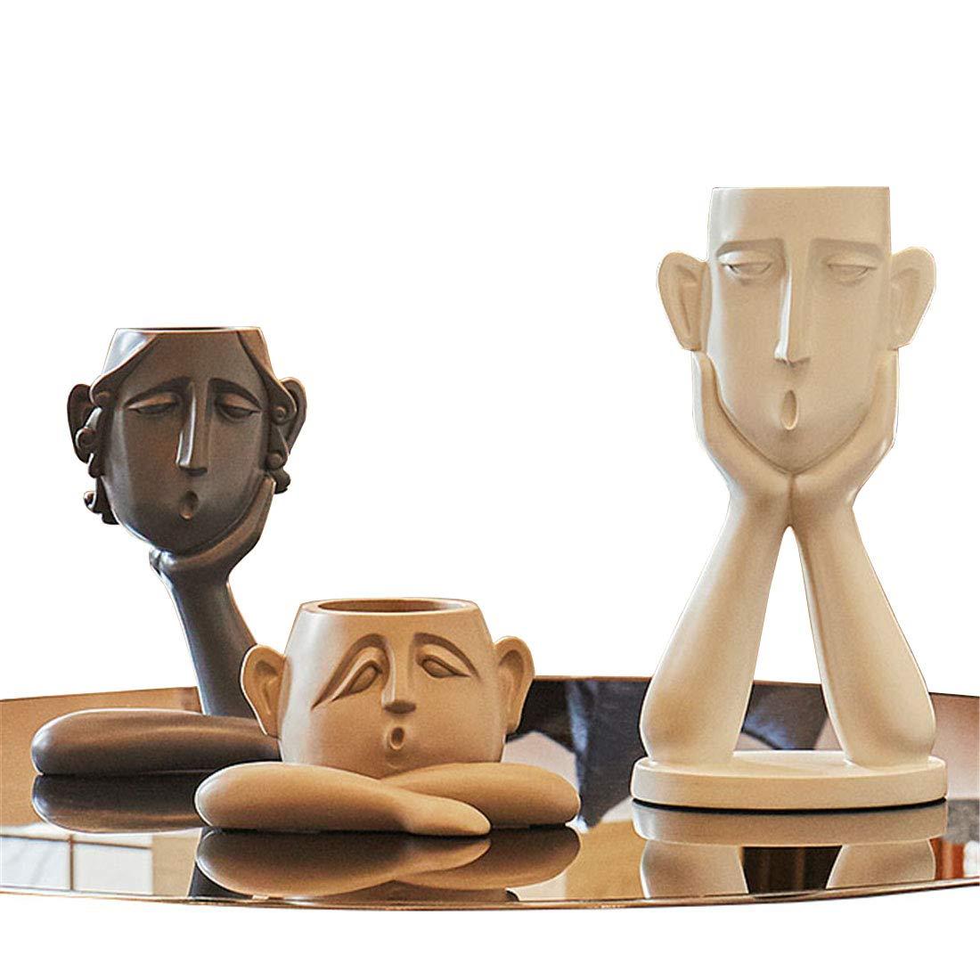 Moderne Keramik Skulptur Artwork Home Decoration Portrait Vase Set - Kreative Figuren Schreibtisch Ornamente Statue Wohnzimmer Café Bar Decor Mann Frau Kinder Geschenke