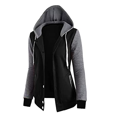 Autumn Spring Jacket Women Coats Hoodies Sweatshirts Women Button Pocket Hooded Cardigan Basic Jackets Black