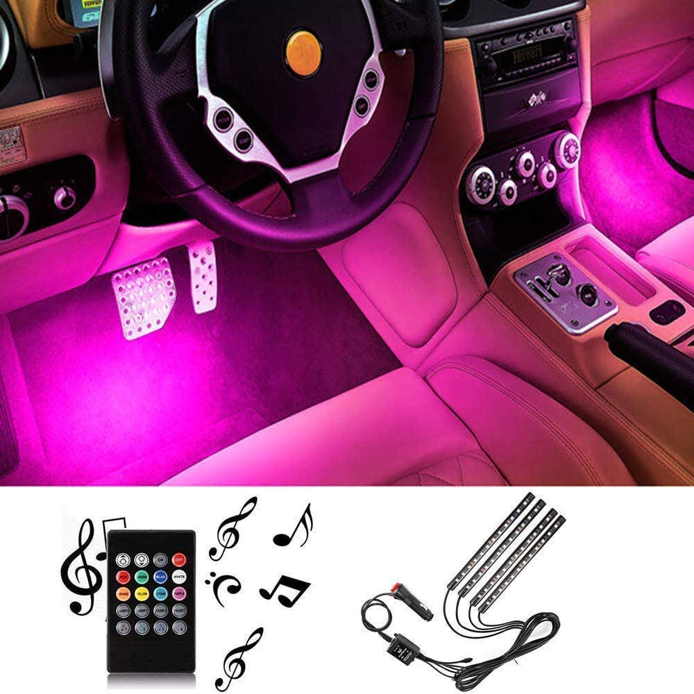 Car Interior Strip Light 48 LED 4pcs DC 12V Multicolor Music Under Dash Lighting Kit with Sound Active Function Wireless Remote Control