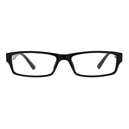 a83067a45a Image Unavailable. Image not available for. Color  Mens 90s Classic Narrow  Rectangular Black Plastic Rim Dad Eye Glasses