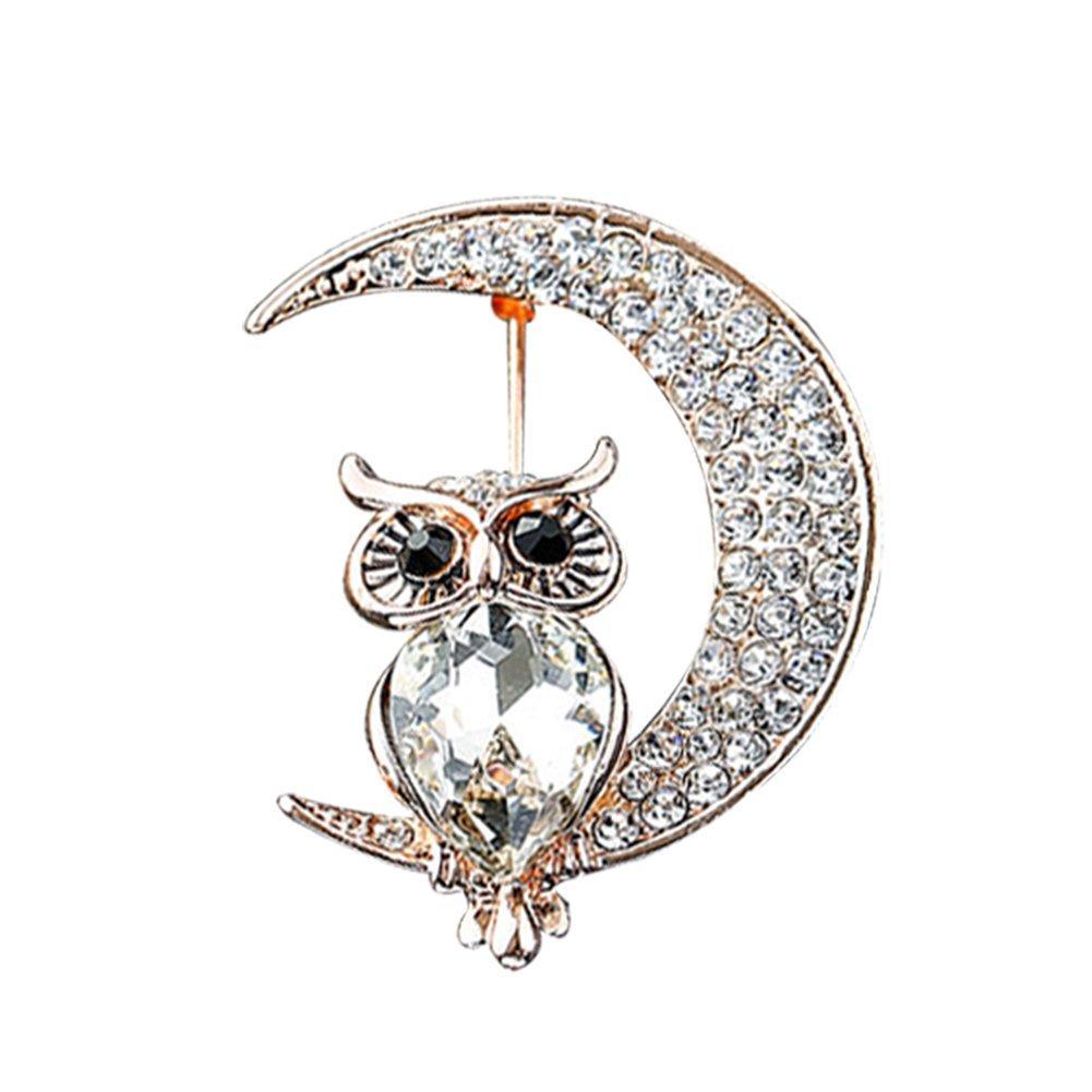 3cm Gespout Broche Hibou Chouette et la Lune Argent Alliage Femme D/écoration de f/ête Cadeau danniversaire 3.8