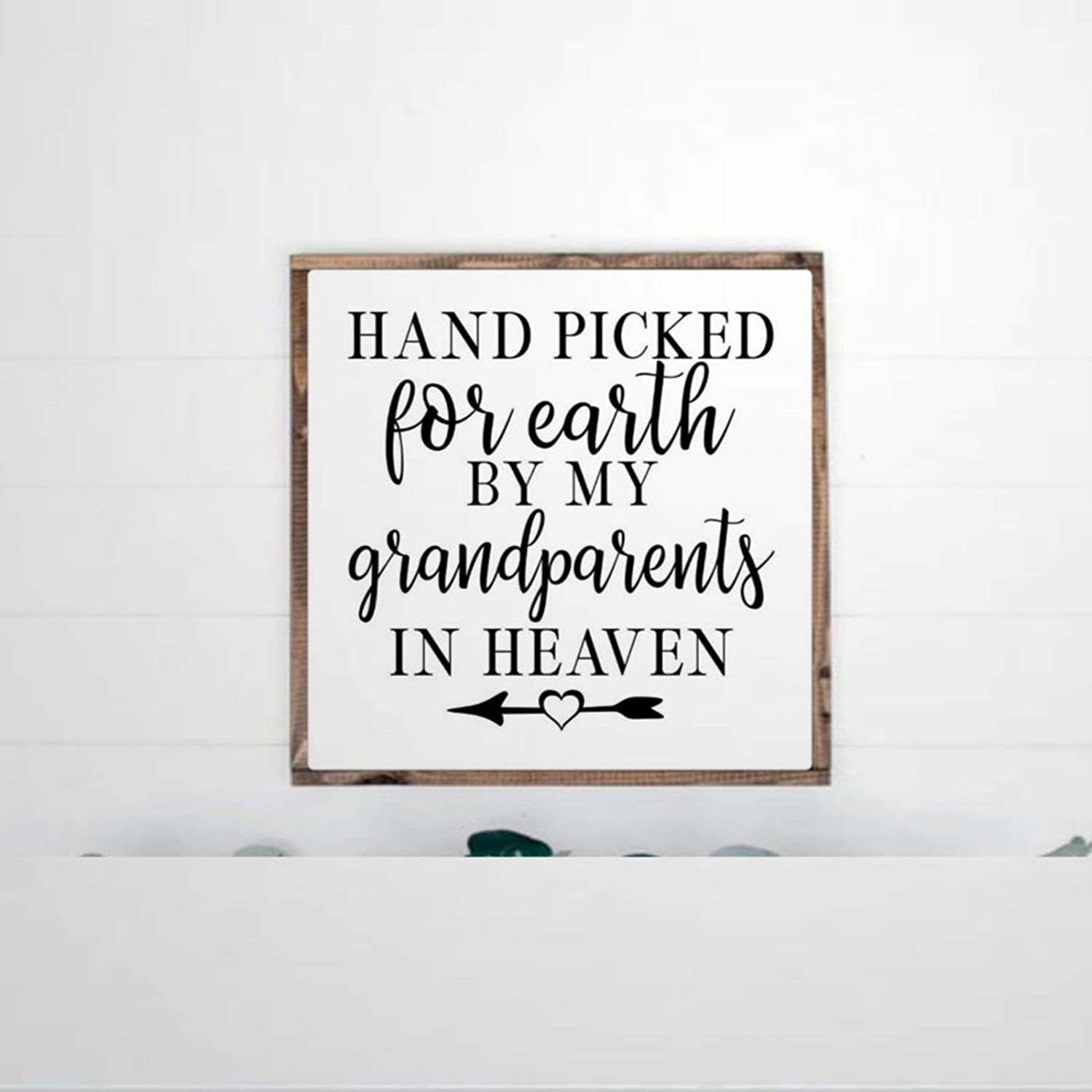 DONL9BAUER Hand Picked for Earth by My Grandparents in Heaven Framed Wooden Sign Baby Memorial Wall Hanging Farmhouse Home Decor Wall Art for Living Room