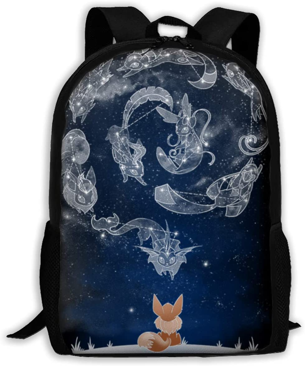 Kids Eevee Constellation Backpack Students Bookbags Durable Daypacks Rucksack 17 Inch for Boys&Girls