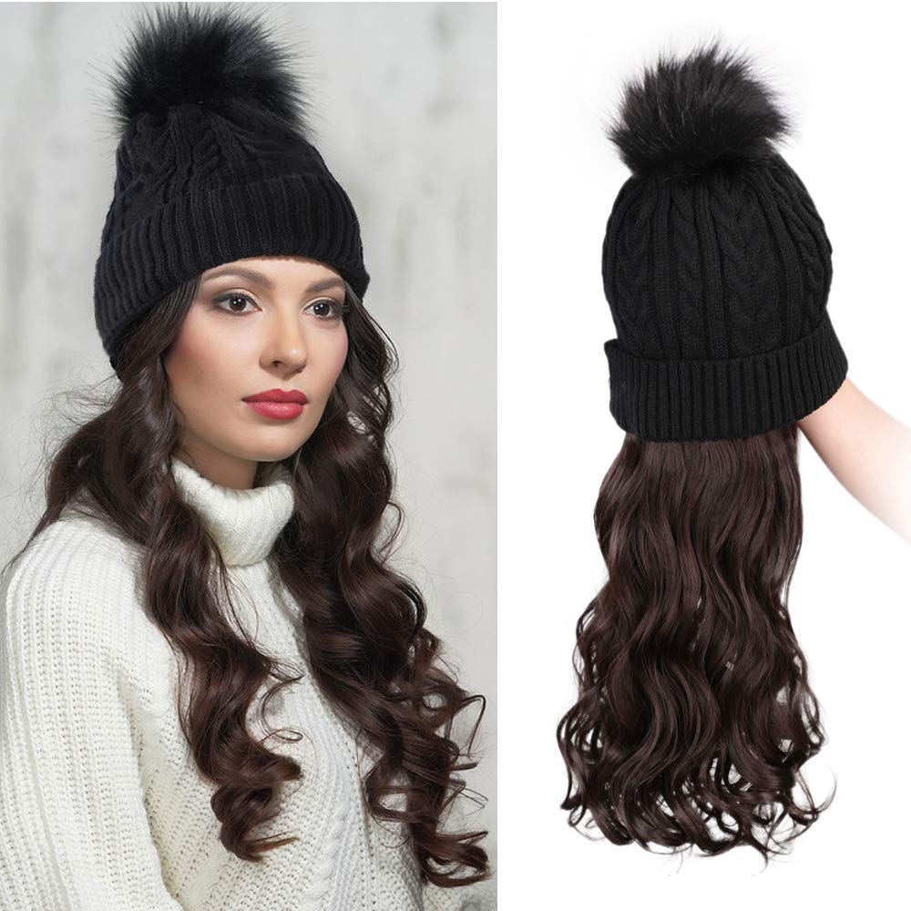 AISI HAIR Winter Beanie Hats Pom with Hair Attached with Ombre Brown Color Long Curly Wavy Synthetic Hair Wig for Women Slouchy Winter Knit Beanie Hat (Dark Brown 4/33#)