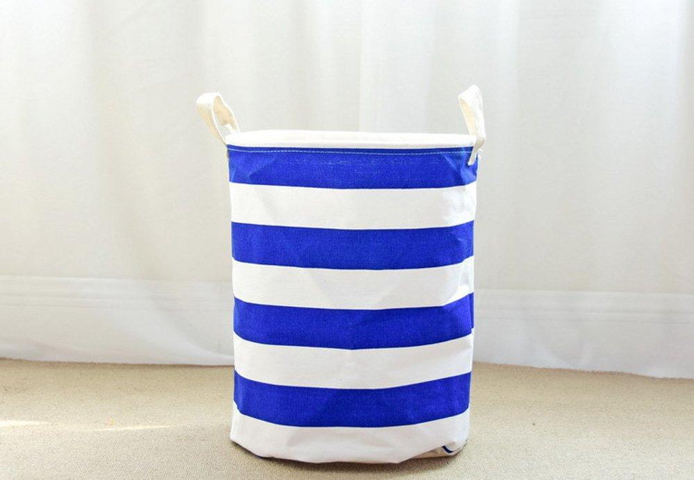 ストライプおもちゃストレージ& # xff0 C ;折りたたみ式ストレージビンバスケット、ラウンド厚みキャンバスファブリックストレージビンwithハンドルby Cutepuppy Diameter14 x High18 ブルー Storage Bin-Stripe B074Y7289Zブルー