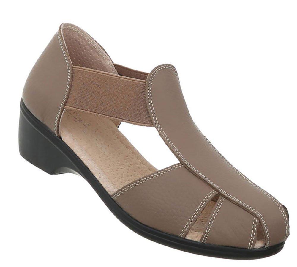 Damen Schuhe Sandalen Leder Pumps37 EU|Hellbraun