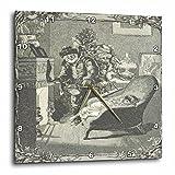 3dRose TDSwhite – Christmas Holidays Xmas - Vintage Father Christmas Santa Claus Baby Fireplace - 15x15 Wall Clock (dpp_285087_3)