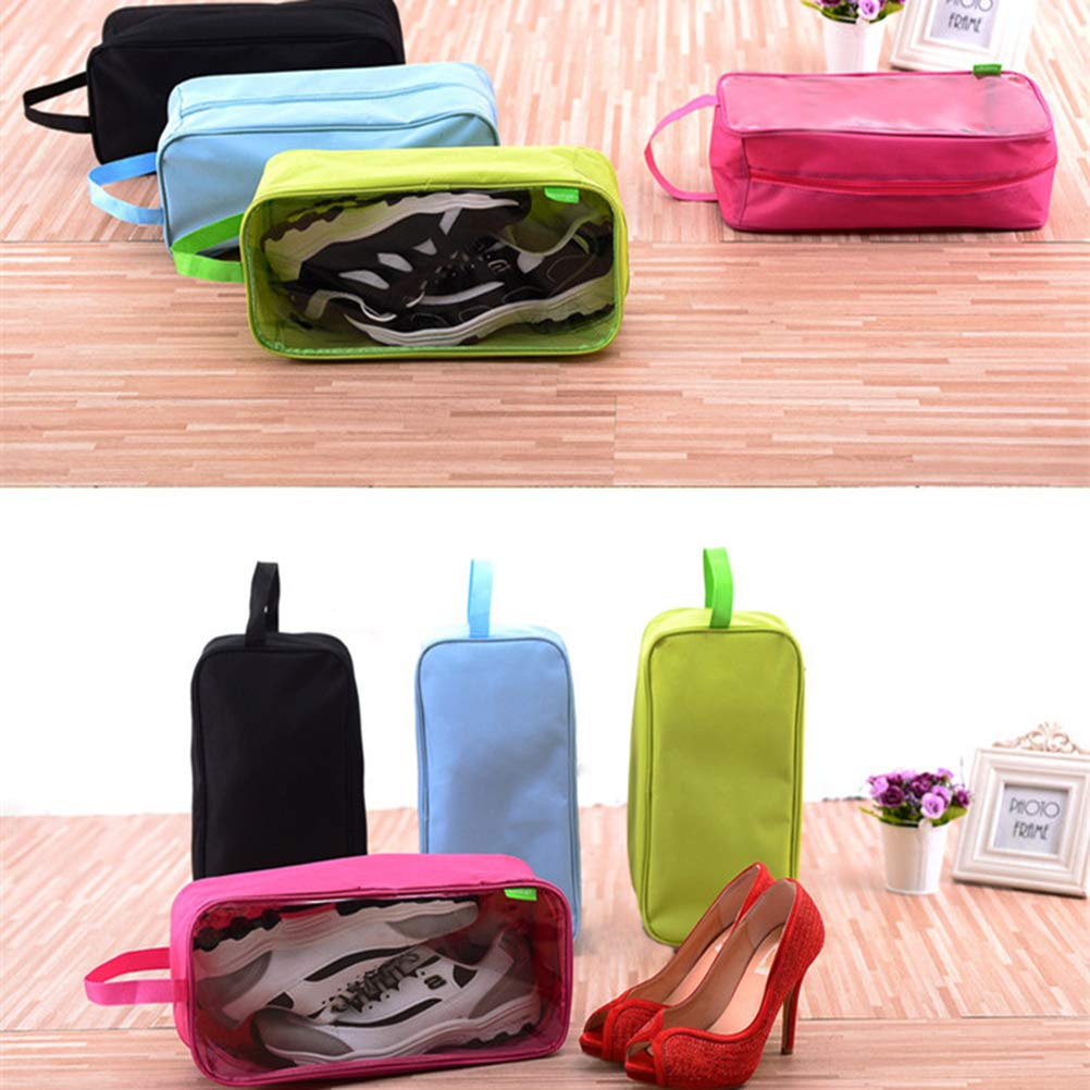 Black OUNONA Portable Travel Shoes Bag Dust-Proof Waterproof Shoes Organizer Tote Pouch with Zipper for Travel Sports Camping