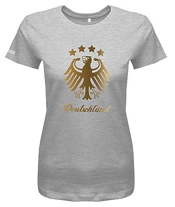 1715671551d36c WM 2018 Deutschland Adler - 4 Sterne Gold - Damen T-Shirt  Amazon.de   Bekleidung