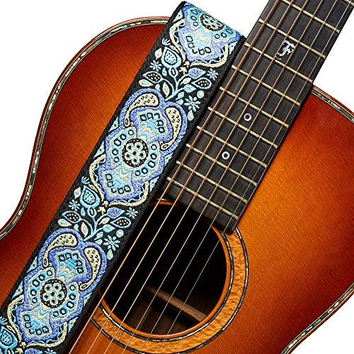 - Amumu Hootenanny Embroidery Guitar Strap Blue Cotton for Acoustic, Electric and Bass Guitars, Ukuleles with Strap Blocks & Headstock Strap Tie - 2