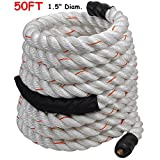 1.5'' Poly Dacron 50ft/White Battle Rope Workout Strength Training Undulation TKT-11