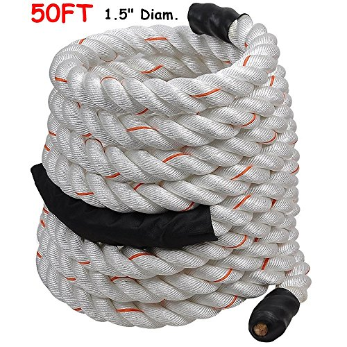 1.5'' Poly Dacron 50ft/White Battle Rope Workout Strength Training Undulation TKT-11 by TKT-11