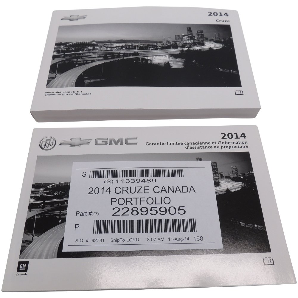 Portfolio w//Warranty Booklet 22895905 2014 Chevy Cruze Canada Owners Manual
