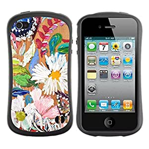 Paccase / Suave TPU GEL Caso Carcasa de Protección Funda para - Daisy Leaves Spring Nature Painting - Apple Iphone 4 / 4S