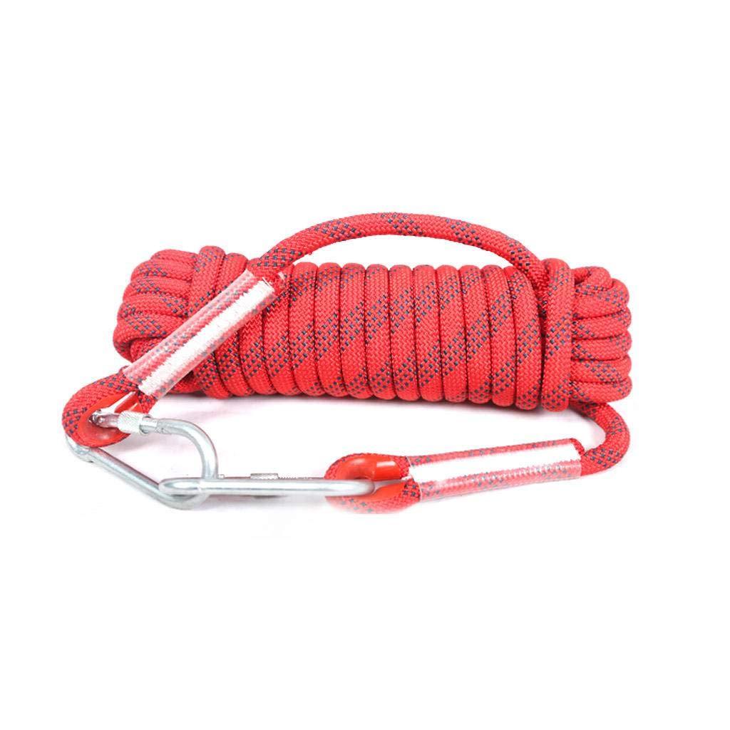 Rouge AMENZ Corde de sécurité extérieure Corde d'évacuation des ménages Corde de Travail aérien Corde d'escalade résistante à l'usure 10mm 50m