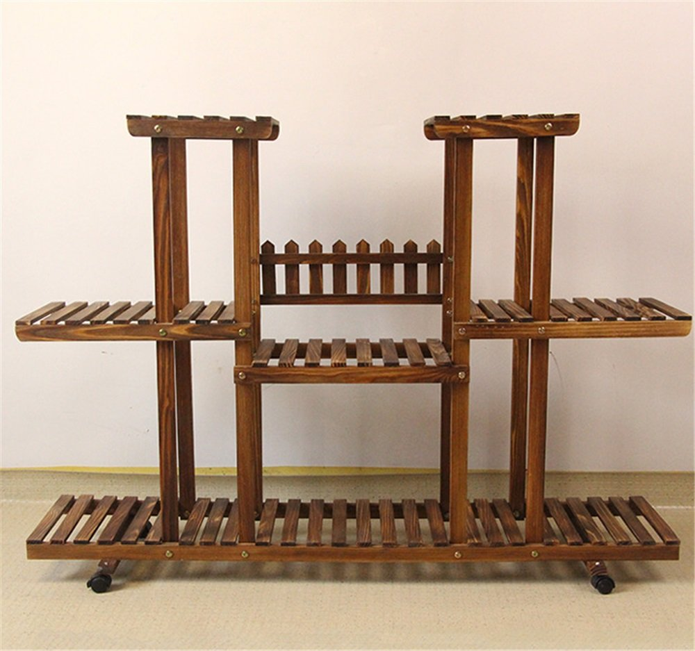 pérgolas de madera maciza - / 120 * 25 * 81 cm para las flores (ruedas extraíbles) - Macetas - marco bonsai multicapa - Balcón - cubierta - piso - sala de ...
