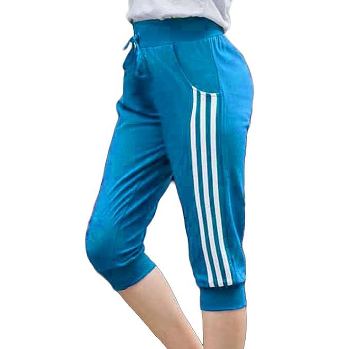 Pantalones Casuales Deportivos Color Sólido para Mujer Pantalones Cintura  Elástica Cordón Siete Cuartos Mujer Pantalones Transpirables  Amazon.es   Ropa y ... 0a45cd753515