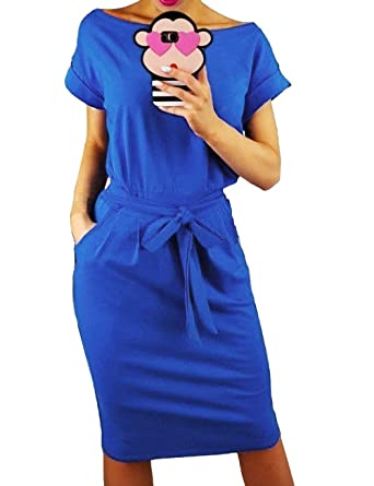 833cddb60a6d ISASSY Femmes Manches Courtes Bow-Knot Midi Dress Pocket Taille Plaine  Business Party Dress avec
