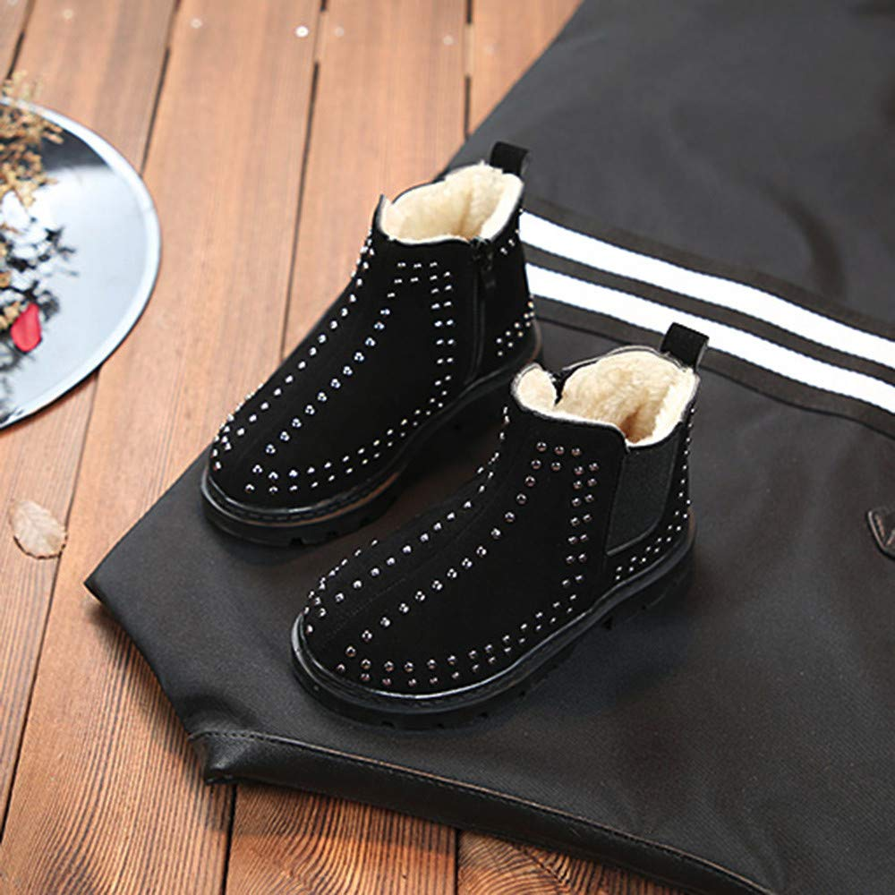 Kids Boy Girl Fall Winter Outdoor Warm Snow Boots 3.5-12T Children Fur Warm with Zipper Rivet Non-Slip Ankle Shoes