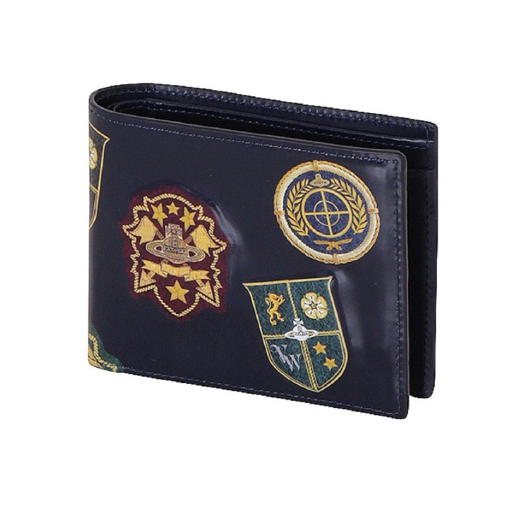 ヴィヴィアンウエストウッド Vivienne Westwood メンズ 財布 クロコ 二つ折り財布 B07CK39KZ9 エンブレム ブラック エンブレム ブラック