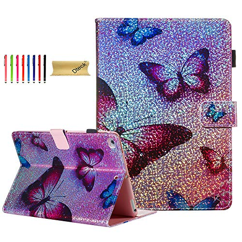 iPad 9.7 inch 2018 2017 Case/iPad Air 1 2 Case - Dteck iPad Case with Pencil Holder Slim Fit PU Leather Folio Stand Smart Cover with Auto Wake/Sleep [Card Slot] Wallet Case, Rose Butterfly