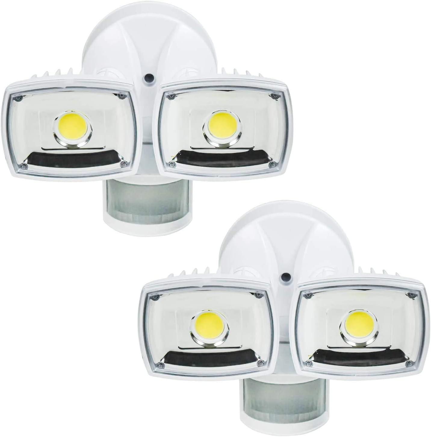 Home Zone Security Motion Sensor Light - Outdoor Weatherproof Ultra Bright 5000K LED Flood Lights (2 Set)