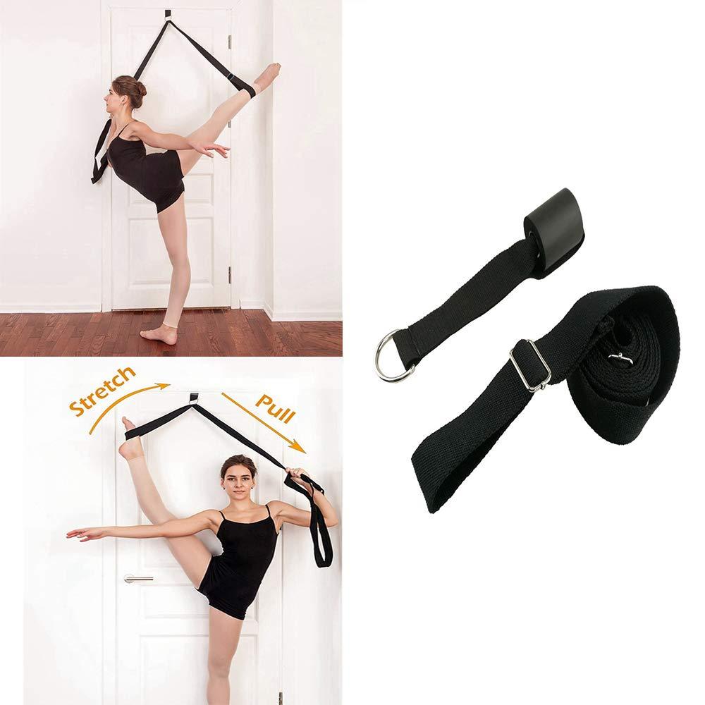 ZITTEE Leg Stretching Band, Ballet Stretch Band Door Flexibility Stretching Leg Strap for Ballet Cheer Dance Gymnastics Training, Adjustable Strap Design