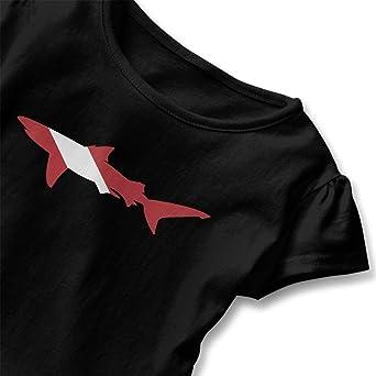 Shark Scuba Diving Flag Kids Girls Short Sleeve Ruffles Shirt Tee for 2-6 Toddlers
